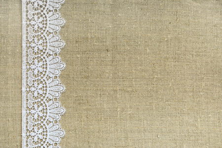 Lace border over burlap photo