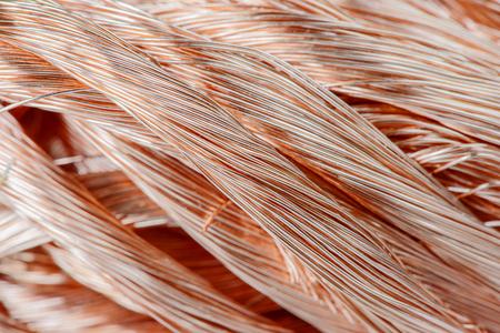 Big pile of copper wire close-up photo