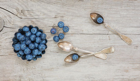 Still life in the old style with blueberry and wooden tableware photo