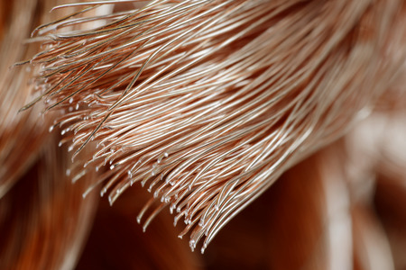 Big pile of copper wire close-up photo