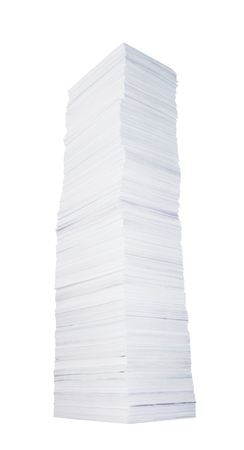 Very high stack of paper on white background photo
