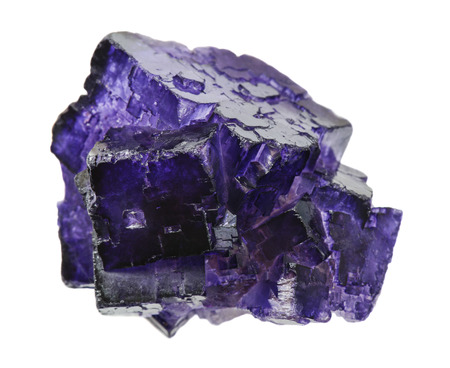 twinning: Purple fluorite crystals specimen isolated at white background Stock Photo