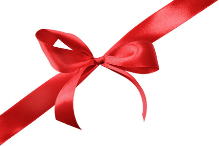 white red: Red satin gift bow and ribbon isolated on a white background