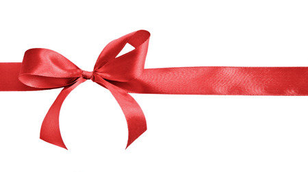ribbon: Red satin gift bow and ribbon isolated on a white background