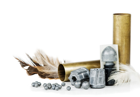 plumbum: Hunting cartridges, bullets and lead shot, isolated on white background