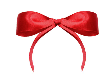 crosswise: Red satin gift bow and ribbon crosswise  isolated on a white background