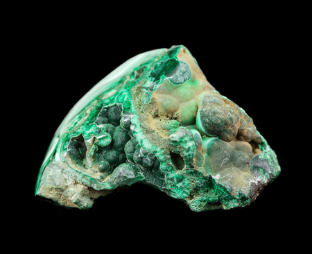 hydroxide: Collection mineral specimen of green malachite, copper ore, isolated on a black background