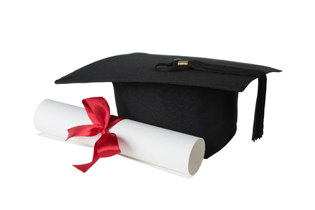 black graduate: Black graduate hat and paper scroll tied with red ribbon with a bow, isolated on white background
