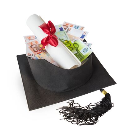 Inverted graduate hat containing various euro banknotes and paper scroll tied with red ribbon, isolated on white background