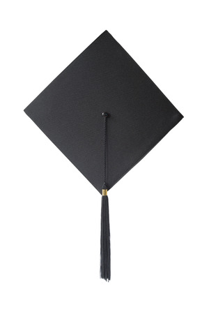 alumni: Black square graduate hat with a tassel isolated on white background; top view