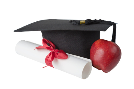Black graduate hat, red apple and paper scroll tied with red ribbon with a bow, isolated on white background