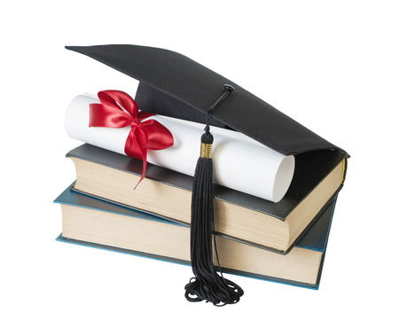 yellow tassel: Black graduate hat, stack of big books and paper scroll tied with red ribbon with a bow, isolated on white background