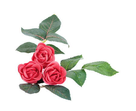 Artificial red roses with leaves made of soap, isolated on white background Stock Photo