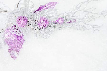 sprig: silver decorative sprig on the snow