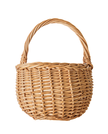 wattled: Wattled basket of natural wicker, isolated on a white background, front view