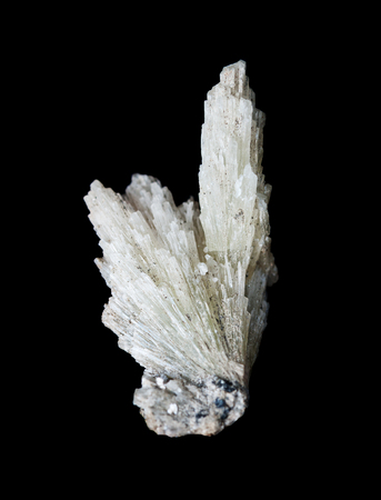 Collectible mineral strontianite specimen; radial splice of white crystals isolated on a black background; Mine number 5, Long Mountain, village Vishnevogorsky, Ural, Russia