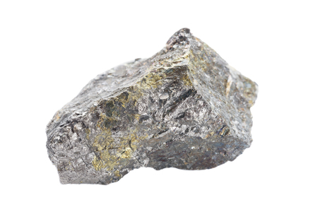Collectible specimen of Pentlandite mineral isolated on a white background closeup. Pentlandite is most important ore of nickel