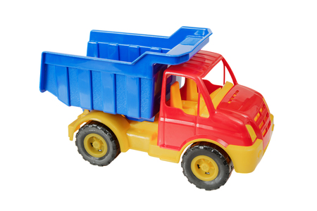 hauler: Multicolored plastic toy truck isolated on white background