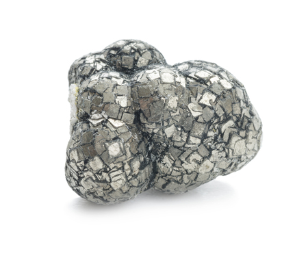 Collection specimen of pyrite mineral (fools gold), where cubic crystals grow into spherical clusters, isolated on white background