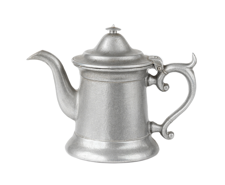 Beautiful ancient tin coffee pot isolated on white background Stock Photo