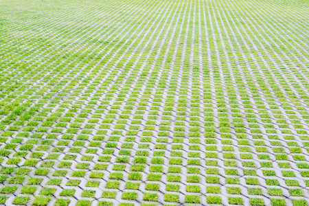 Large empty eco-friendly parking of concrete cells and green turf grass in a modern city Stock Photo