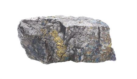 Muestra coleccionable de mineral Pentlandita aislado en un primer plano de fondo blanco. Pentlandita es mineral de níquel Foto de archivo