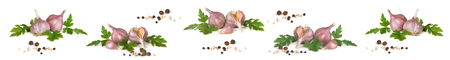 Long banner with garlic and spices isolated on a white background