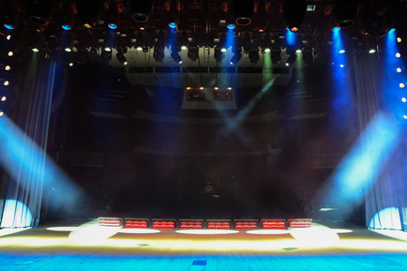 View from the illuminated empty concert stage to the dark auditorium