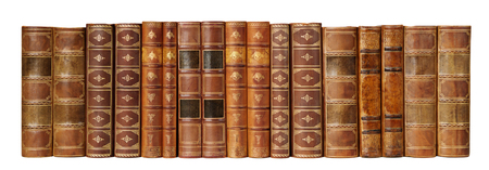 Row of antique books in a leather hardcover isolated on white background Фото со стока
