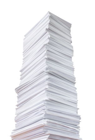 Tall stack of paper isolated on white background Banco de Imagens