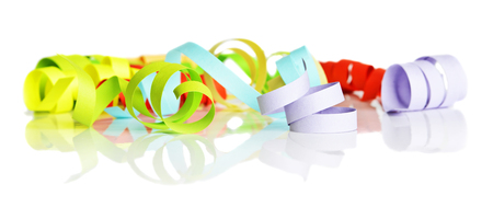 Multicolored paper ribbons twisted into a spiral isolated on a white background 스톡 콘텐츠
