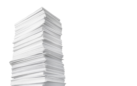 High paper stack isolated on the white background Imagens - 124742731