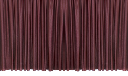 Closed dark red velvet theater curtain isolated on a white background