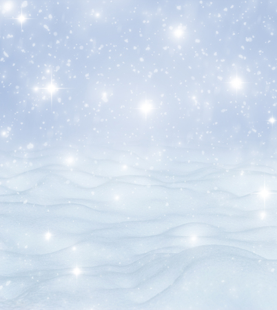 Natural Winter Christmas background with blue sky, heavy snowfall, snowflakes in different shapes and forms, snowdrifts. Winter landscape with falling christmas shining beautiful snow Imagens