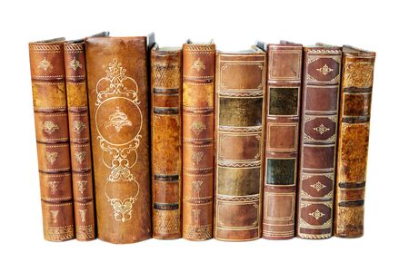 Row of antique books in a leather hardcover isolated on white background Stock fotó