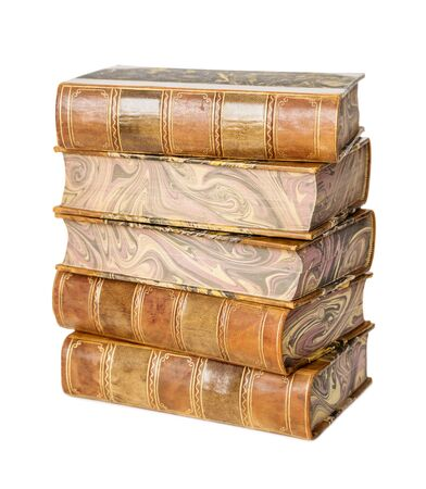 Big heap of old books in a leather hardcover isolated on white background