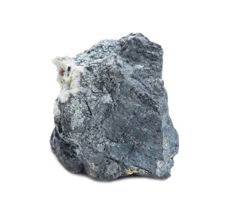 Specimen of geological collection mineral Enargite (Copper ore) stone isolated on white background; macro shooting
