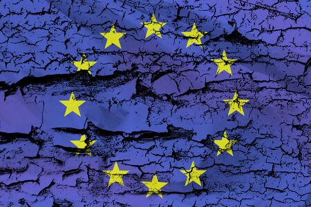 European Union Flag on a distressed grungy texture with peeling paint and cracks