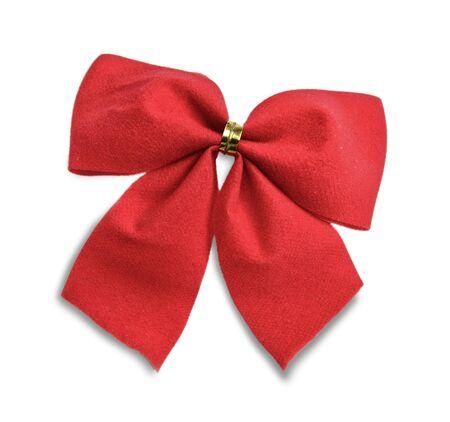 Fiocco regalo rosso isolato su sfondo bianco Archivio Fotografico