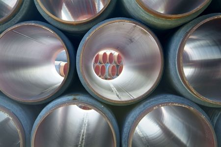 brent crude: Tubes for transportation of oil and gas from the offshore oil fields in the North Sea
