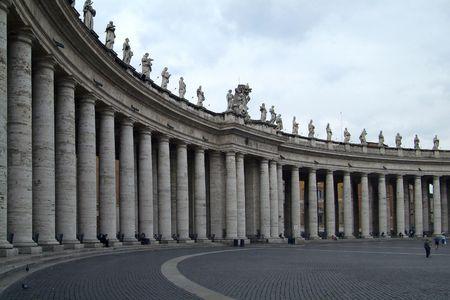 The collonade around the square in front of Basilica San Pietro, Piazza San Pietro, St. Peters square