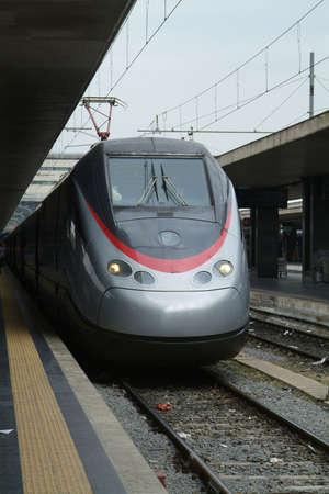 eurostar: Italian expresstrain Eurostar at the main railway station in Rome, Termini.