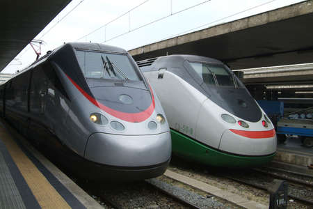 Two Italian Eurostar express trains at Termini, the main railway station in Rome, Italy