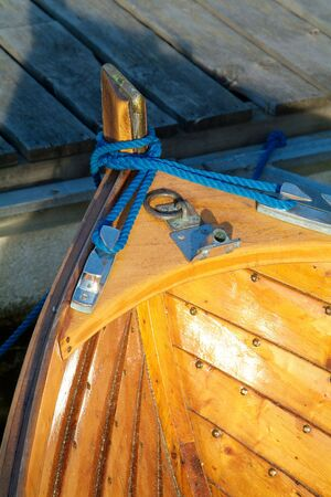 nit: Detail of traditional, Norwegian wooden motorboat