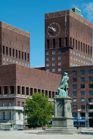 The city-hall of Oslo, Norway with the Tordenskiold-statue in front
