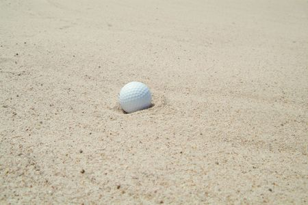 Golf-ball in bunker (sand-trap). Stock Photo - 496879