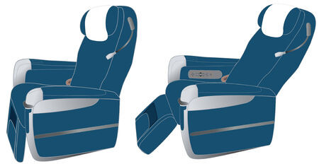 unlimited: Business class airline seats, vector graphics. Unlimited enlargement.