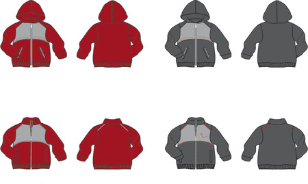 Sports-jacket with zip, with and without hood. Vector graphics Illustration