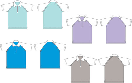 Polo shirts with zip, front and back, Vector graphics.