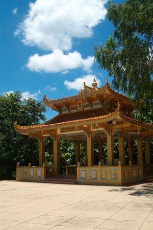 pattaya: Yellow building at Chinese temple in Pattaya, Thailand